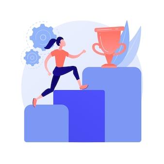 Vektorillustration des abstrakten konzepts der persönlichen entwicklung. talentpotential entwickeln, persönliches karrierewachstum, humankapital, soziale fähigkeiten, selbstverbesserung, abstrakte metapher des trainers.