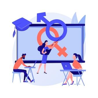 Vektorillustration des abstrakten konzepts der sexuellen erziehung. unterricht in sexueller gesundheit, sexualerziehung in der schule, menschliche sexualität, emotionale beziehungen und abstrakte verantwortlichkeiten metapher.