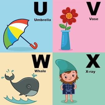 Vektorillustration des alphabet-kits, das uvwx enthält