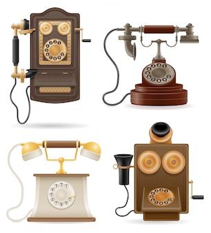 Vektorillustration des alten retro- satzes des telefons