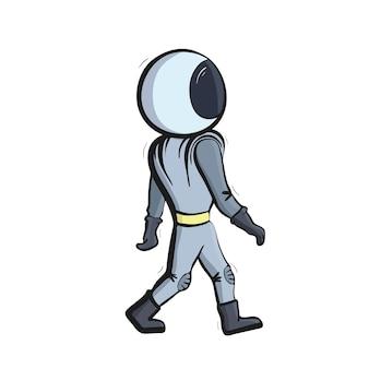 Vektorillustration des astronauten, der im weltraum schwimmt. konzept der planetenerkundung