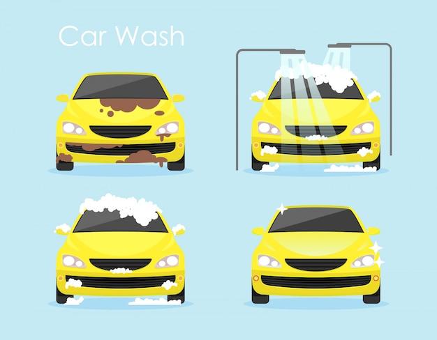 Vektorillustration des autowaschkonzepts. buntes gelbes auto reinigt schritt für schritt auf blauem hintergrund im flachen karikaturstil.
