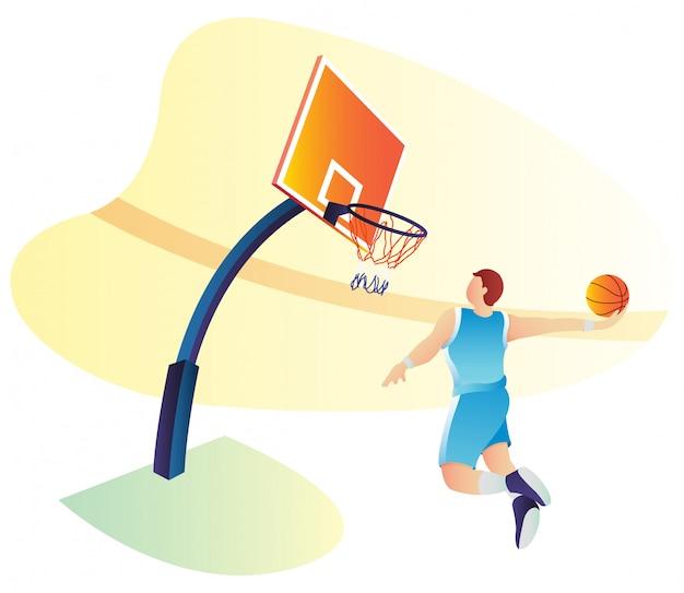 Vektorillustration des basketballspiels für zielseite