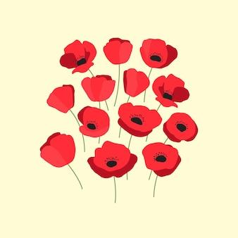 Vektorillustration des bündels aromatischer roter mohnblumen