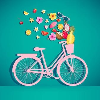 Vektorillustration des bunten retro- fahrrades mit korb und tropischen früchten und blumen