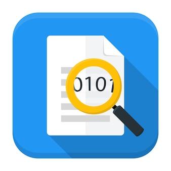 Vektorillustration des dokuments mit lupe. flaches app-quadrat-symbol mit langem schatten.