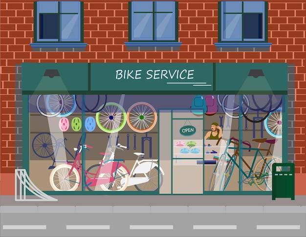 Vektorillustration des fahrraddienstes in einem brique-gebäude.