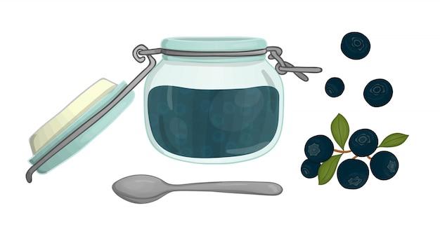 Vektorillustration des farbigen glases mit blaubeermarmelade. blaubeere, topf mit marmelade, löffel lokalisiert vektorsatz ebereschenbaumelemente lokalisiert. aquarell-effekt.