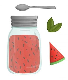 Vektorillustration des farbigen glases mit wassermelonenmarmelade. melonenstück, grünblätter, löffel, topf mit der marmelade, lokalisiert. aquarell-effekt.