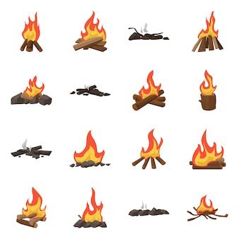 Vektorillustration des flammen- und feuerzeichens. set flamme und lagersatz