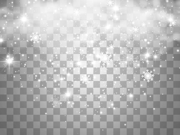 Vektorillustration des fliegenden schnees auf einem transparenten hintergrundnaturphänomen des schneefalls