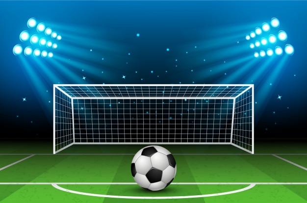 Vektorillustration des fußball-stadions. fußballarena