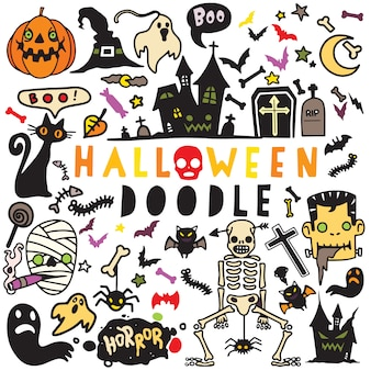 Vektorillustration des gekritzel-halloween-plakatdesignsatzes, hand