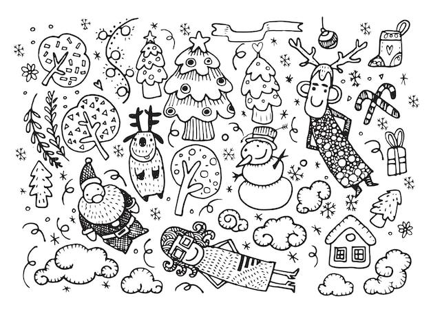 Vektorillustration des gekritzel-weihnachtshintergrundes