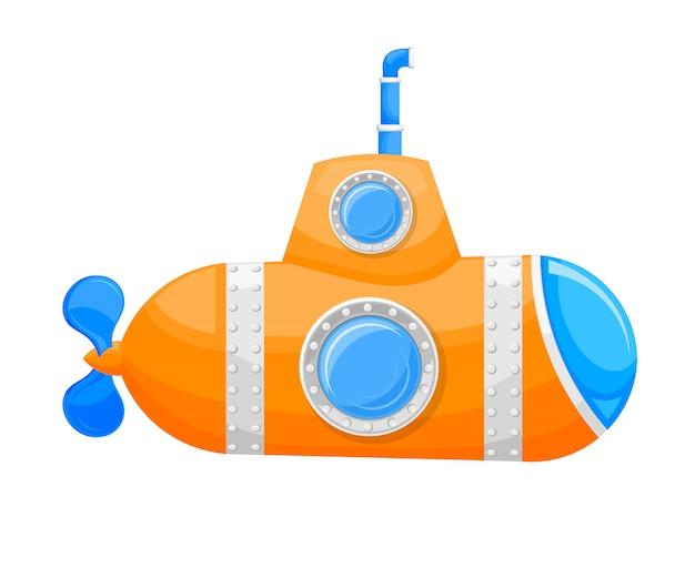Vektorillustration des gelben unterseeboots der karikatur