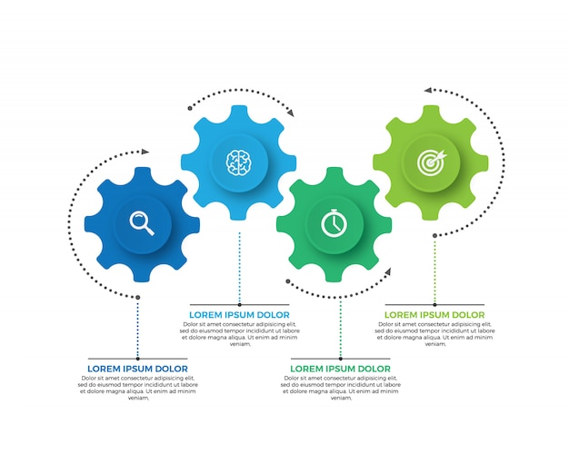 Vektorillustration des geschäfts infographic gemacht von den gängen. 4 schritt oder option.