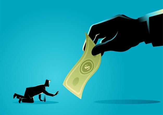 Vektorillustration des geschäftsmannes, der kriecht und nach einer riesigen hand greift, die geld hält