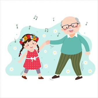 Vektorillustration des glücklichen alten älteren opas der karikatur, der mit seiner kleinen enkelin tanzt