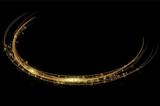Vektorillustration des goldenen lichtlinseneffekts lokalisiert auf schwarz