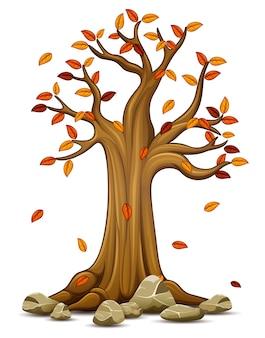 Vektorillustration des herbstbaums mit fallenden blättern