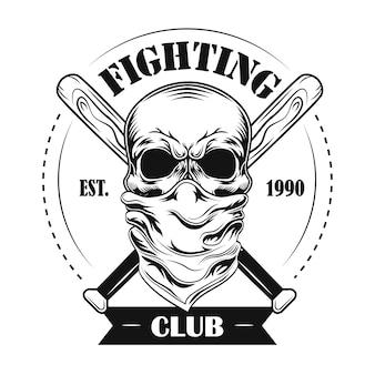 Vektorillustration des kämpfenden clubmitglieds. schädel im kopftuch, gekreuzte baseballschläger und text
