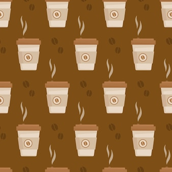 Vektorillustration des kaffeemusters endloses muster eines warmen herbstlattes