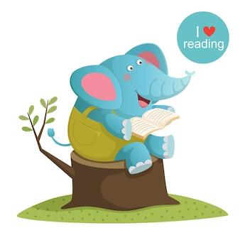 Vektorillustration des karikaturelefanten, der ein buch liest