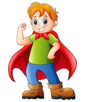 Vektorillustration des karikaturkindes einen superhelden spielend
