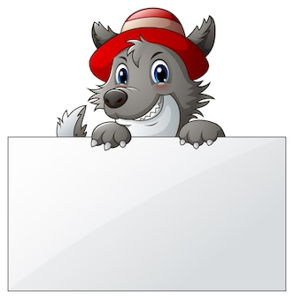 Vektorillustration des karikaturwolfs mit leerem zeichen