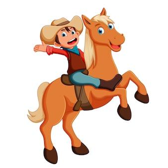 Vektorillustration des kleinen cowboys ein pferd reiten