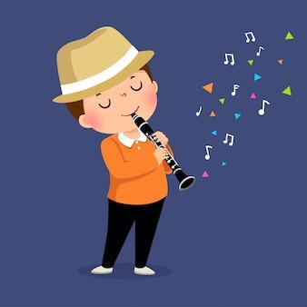 Vektorillustration des kleinen jungen, der die klarinette spielt.