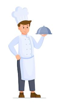 Vektorillustration des kochcharakters. isoliert auf weißem hintergrund koch mit cloche in der hand. vorbereitetes abendessen in einem restaurant.