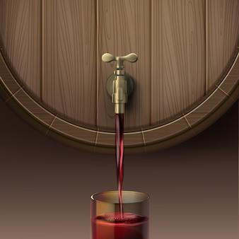 Vektorillustration des konzepts, das rotwein aus holzfass in glas, lokalisiert auf braunem hintergrund gießt