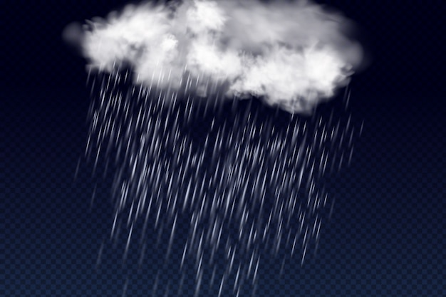 Vektorillustration des kühlen einzelwetters mit wolke und starkem fallregen.