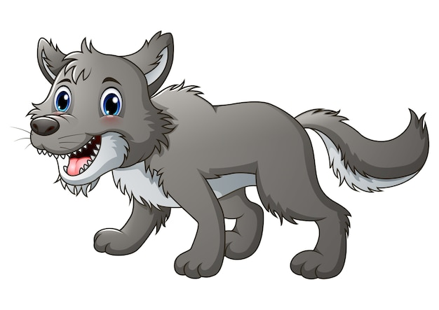 Vektorillustration des lächelnden wolfs karikatur