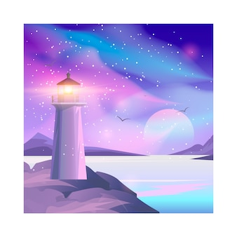 Vektorillustration des leuchtturmes im nachtmeer.