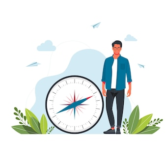 Vektorillustration des mannes hält einen großen kompass in ihren händen. kartografie-orientierungslauf, navigationsausrüstung, richtige richtung wählen, tourismus- und wanderkonzept. cartoon-vektor-illustration