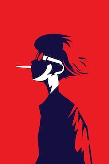 Vektorillustration des mannes im trendigen stil, der raucht und eine brille trägt