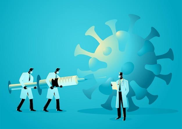 Vektorillustration des medizinischen teams heben riesenspritze an, um gegen pandemie, impfstoff für covid-19-konzept zu kämpfen