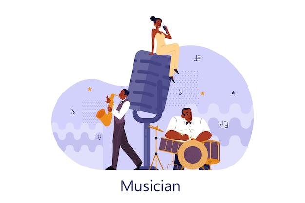 Vektorillustration des musikers, der musik spielt. frau, die ein mikrofon hält und singt. männlicher darsteller, der mit saxophon und schlagzeug steht und auftritt. jazz rock musik band festival.