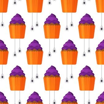 Vektorillustration des nahtlosen musters der halloween-cupcakes