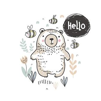 Vektorillustration des netten handgezeichneten bären im wald und des textes hallo für kartentextilpapier