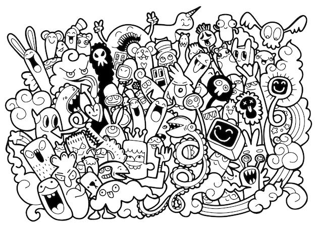 Vektorillustration des netten monsterhintergrundes des gekritzels