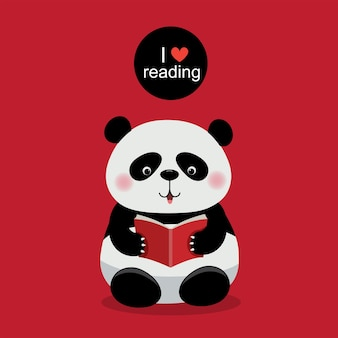 Vektorillustration des netten pandas, der ein buch auf rotem hintergrund liest