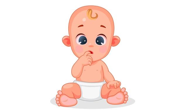Vektorillustration des niedlichen babys mit verschiedenen ausdrücken