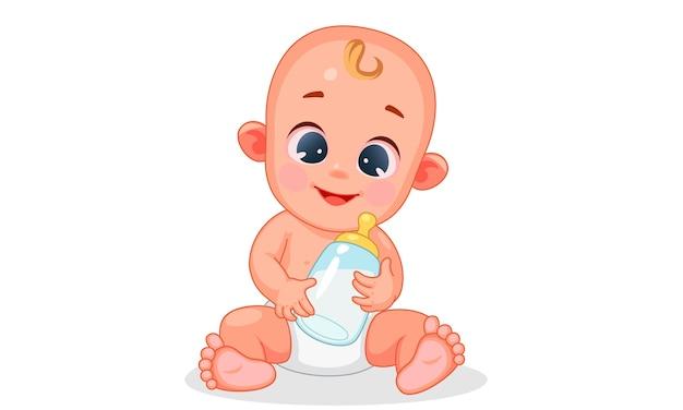 Vektorillustration des niedlichen glücklichen babys, das babymilchflasche hält