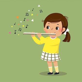 Vektorillustration des niedlichen kleinen mädchens, das die flöte spielt.