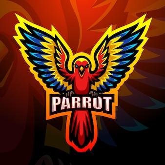 Vektorillustration des papageienmaskottchen-esport-logoentwurfs