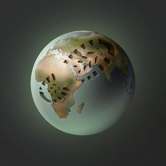 Vektorillustration des planeten erde mit fußabdruck auf dunklem hintergrund