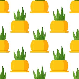 Vektorillustration des saftigen musters auf weißem hintergrund. druck einer zimmerpflanze in einer leuchtend gelben glänzenden vase. schöne zimmervase als deko.